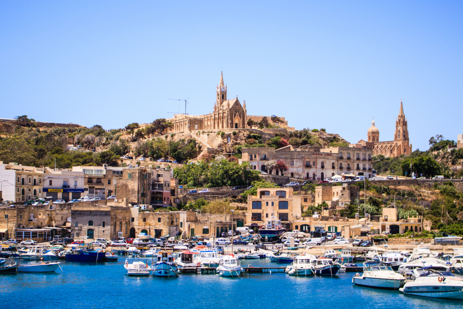 view of gozo island from boat