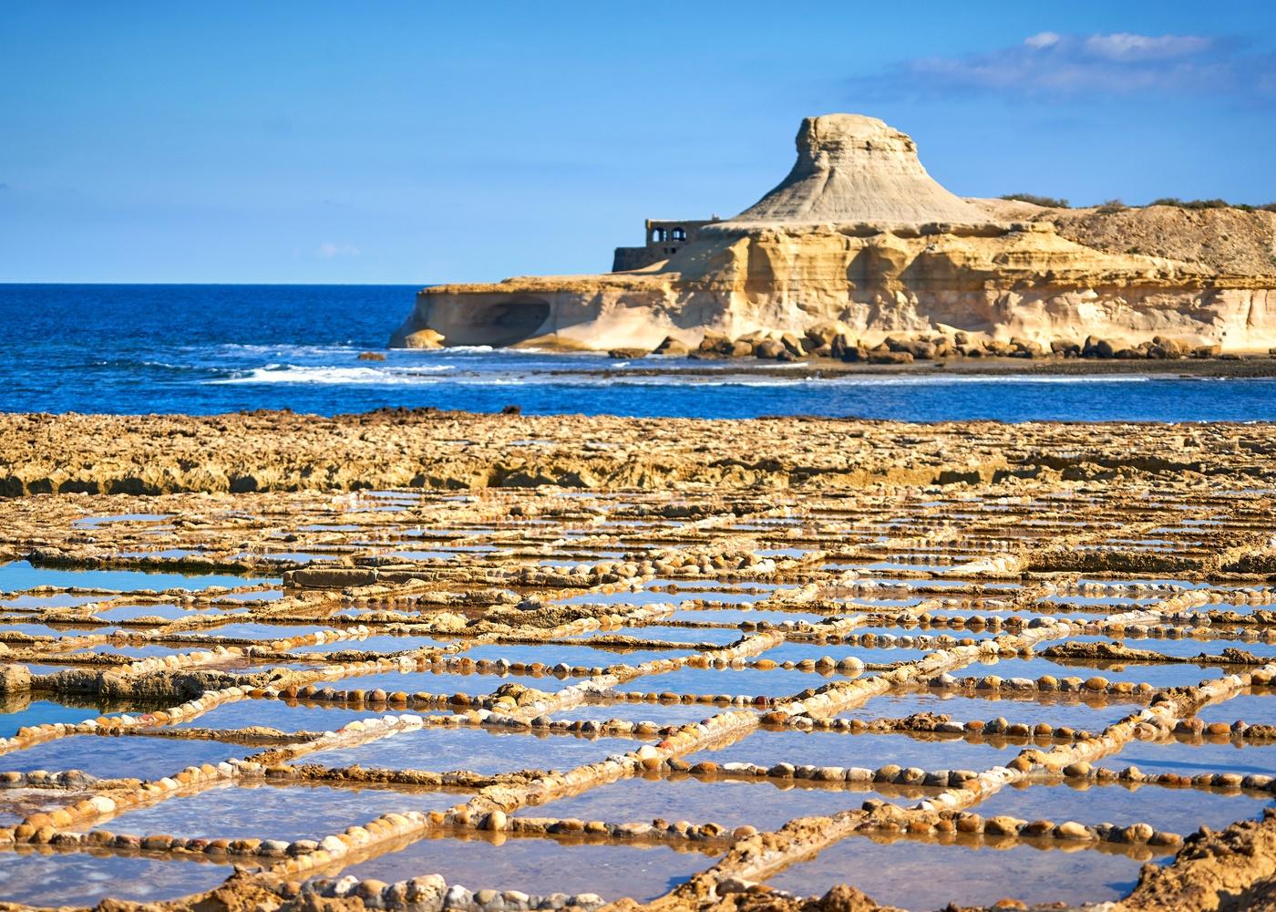 Gozo's salt pans sea coast